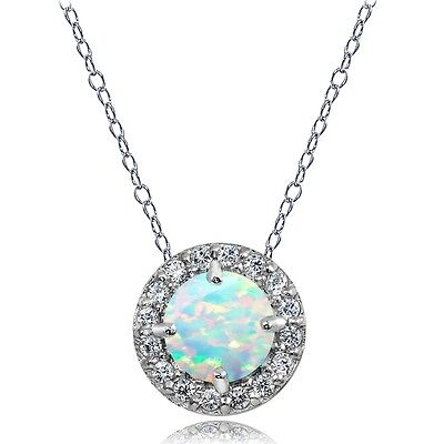 Sterling Silver Created White Opal and White Topaz Round Halo Necklace