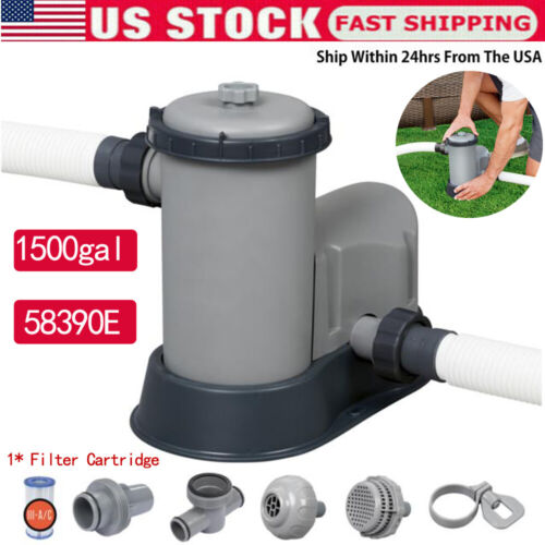 1500 GPH Filter Pump for Above Ground Swimming Pool 58390E+1*Filter Cartridge US