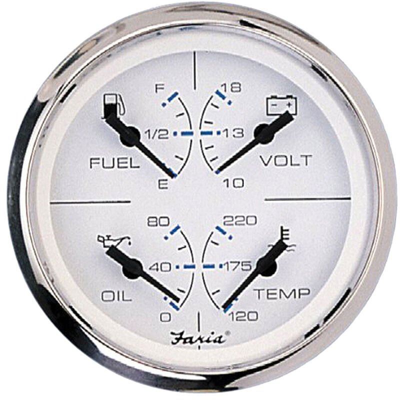 """Faria Chesapeake SS White 4"""" Multifunction 4-in-1 Combination Gauge w/Fuel, Oil,"""