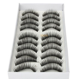10 Pairs Makeup Eye Lash Natural False Fake Eyelashes Black 028