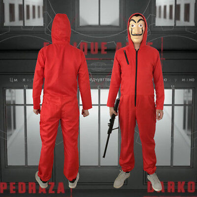 La casa De Papel Cosplay Costume Suit Salvador Dali Money Heist Red Jumpsuits