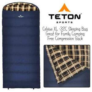 NEW TETON Sports Celsius XL -32C Sleeping Bag; Great for Family Camping; Free Compression Sack Condtion: New, Left Zi...