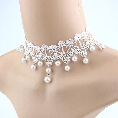 Lace Pearl Choker Einstellbare Halskette Elegante Brautschmuck Hochzeit