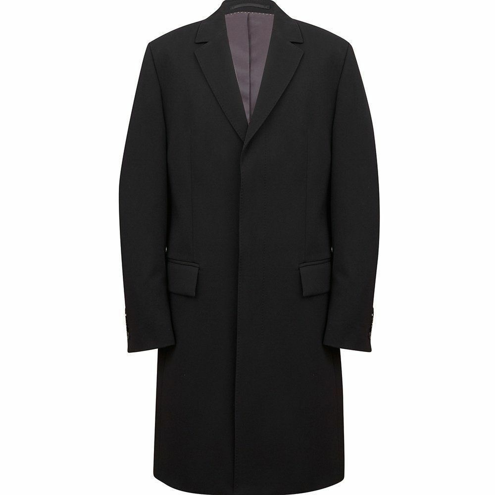 Hugo Boss Light Striped Black Wool & Cashmere Over Coat size 40 L