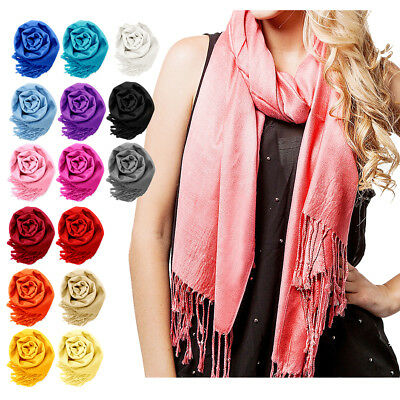NEW Women Soft PASHMINA SILK Classic Solid Cashmere Wool SHAWL Scarf Stole WRAP