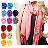 NEW Women Soft PASHMINA SILK Classic Solid Cashmere Wool SHAWL Scarf Stole WRAP