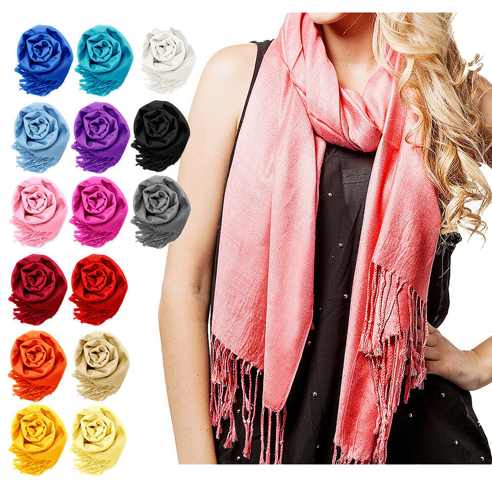 Scarf - NEW Women Soft PASHMINA SILK Classic Solid Cashmere Wool SHAWL Scarf Stole WRAP