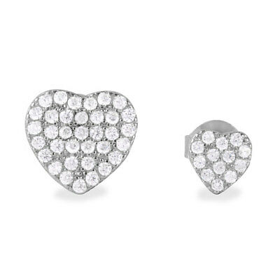 (Sterling Silver CZ Stones Encrusted Large and Small Heart Stud Earrings)