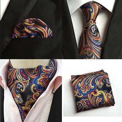 Mens Colorful Paisley Floral Silk Necktie Tie Ascot Cravat Handkerchief Lot
