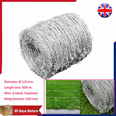Barbed Wire Roll Heavily Galvanized Steel 500m High Tensile Garden Plants Fence