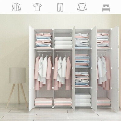 16-Cube DIY Plastic Wardrobe Cupboard Closet Cabinet Organizer Storage Furniture