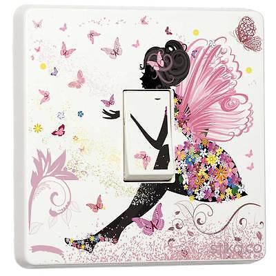 Pink Fairy Princess Butterfly Light Switch Sticker vinyl cover skin [Single]
