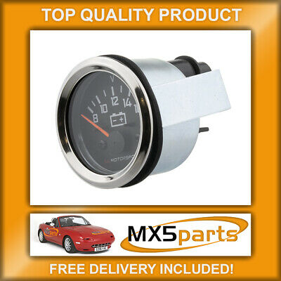 MX5 Battery Instrument Gauge Black Face Chrome Rim Mazda MX-5 Mk1 Mk2/2.5 89>05