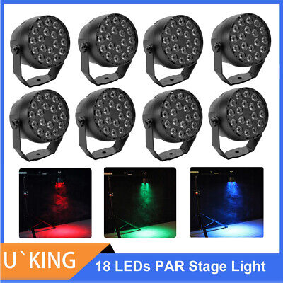 8PCS 36W RGB 18 LED PAR Can Stage Lighting Disco Club Show Party Wedding Light