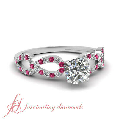 Pink Sapphire Engagement Ring 0.71 TCW. Round Cut Diamond SI2 14K GIA Certified