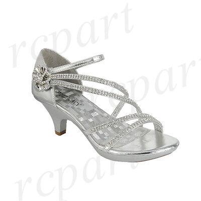 New women's shoes evening rhinestones med heel wedding prom formal jewel silver