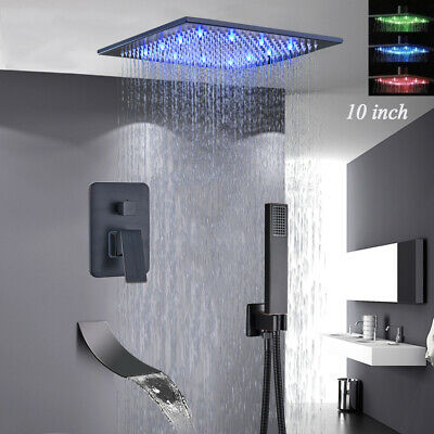 10-inch LED Shower Faucet Tub Spout Hand Shower Combo Tap Ceiling Mounted Brass Ceiling Mount Tub Faucet