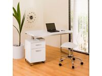 Dwell White High Gloss reversible office desk and drawers Office Computer