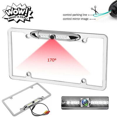 Metal Chrome Silver License Plate Frame Rear Backup Camera For Reverse Parking