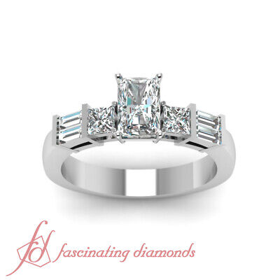 Radiant Cut And Baguette Diamond Rings For Women 1 Carat  In 14K White Gold GIA 1