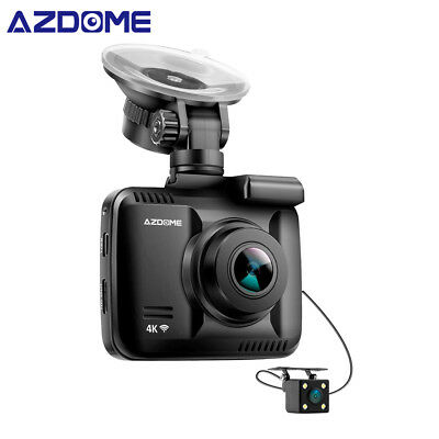 4K HD Car Dash Cam - AZDOME Dual Lens GPS WiFi 1080P Front+VGA Rear Camera Kit