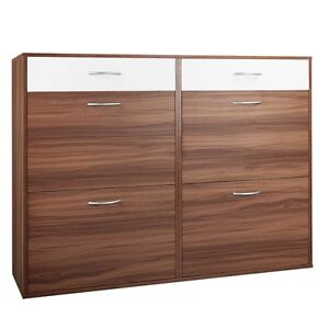 Shoe Cabinet Rack Walnut / White Middleton Grange Liverpool Area Preview