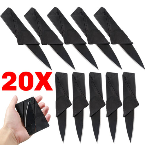 Knife - 20 X Credit Card Knives Lot Folding Wallet Thin Pocket Survival Micro Knife USA