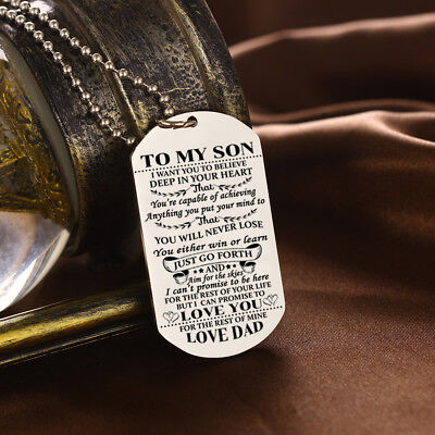 To My Son Want you Love Dad Dog Tag Necklace Birthday Graduation Gift Military