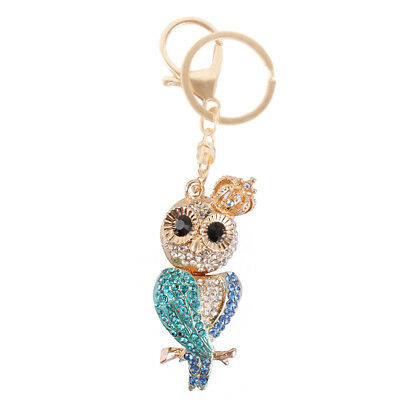 Owl Crown Bird Charm Pendant Purse Bag Rhinestone Crystal Key Chain Creative Gif