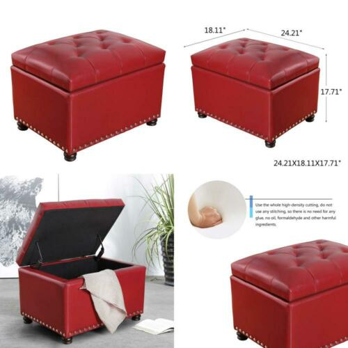 Adeco High End Red Classy Bonded PU-Leather Tufted Accents R