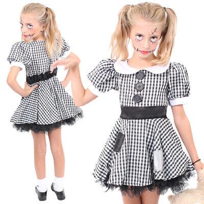 GIRLS BROKEN RAG DOLL COSTUME SCARY ZOMBIE CHILDS HALLOWEEN FANCY DRESS - Scary Dolls Halloween Costume