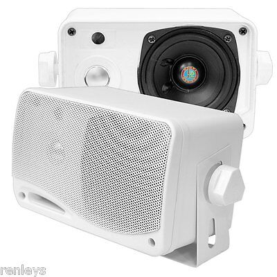"New 3 Way Weatherproof Mini Box Marine Speakers 2 Pyle 3.5"" 200W Outdoor White"