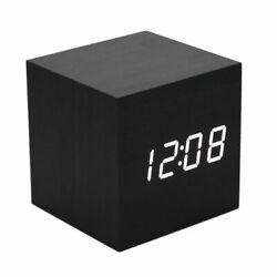 Alarm Bed Clock Cube Black Wood Style LED Temp Minimalist Table Home Decor Room