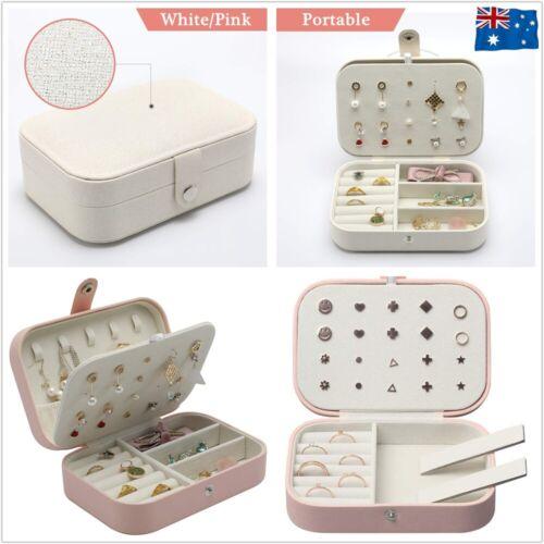 Jewellery - Portable Travel Jewellery Box Organizer Leather Ornaments Display Case Storage