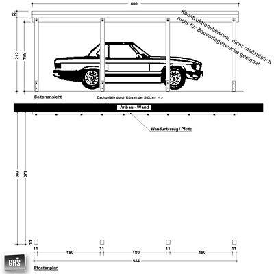 Anbau-Carport 4x6 m, Anlehncarport Holz-Bausatz mit Stützen 11x11 cm