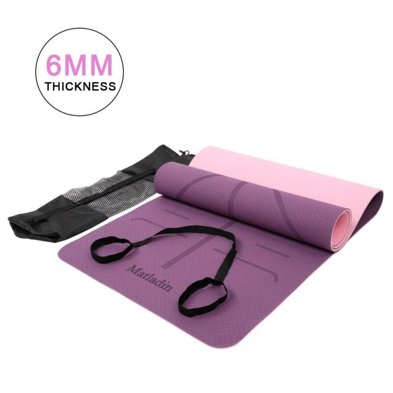 6mm Yoga Mat Gym Camping Non-Slip Fitness Exercise Pad TPE Purple