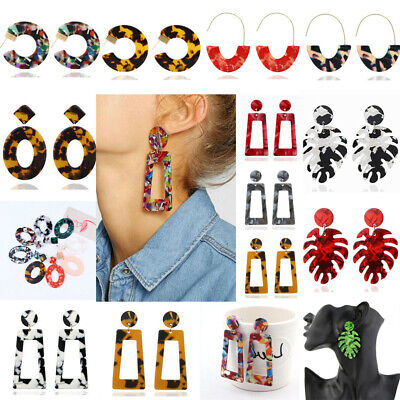 Women Geometric Dangle Drop Hook Acrylic Resin Ear Stud Earrings Fashion Jewelry