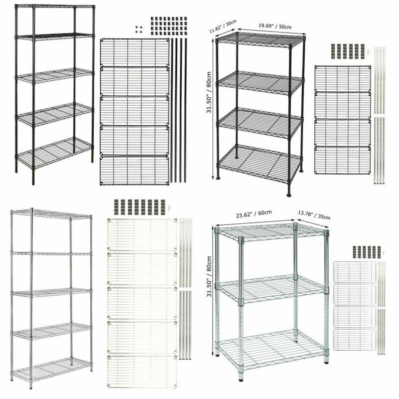 3-5 Tier Storage Rack Organizer Home Kitchen Shelving Steel Wire Shelves Stand