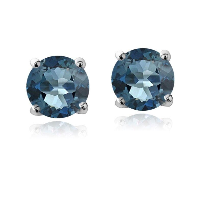 925 Silver 1 1/6ct London Blue Topaz Stud Earrings, 5 mm
