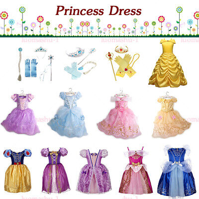 Kinder Mädchen Prinzessin Kleid Cosplay Kostüm Belle Aurora Schneewittchen Party