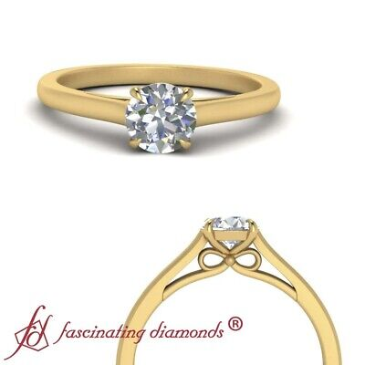 Half Carat Round Cut Diamond Cathedral Solitaire Womens Engagement Ring FLAWLESS