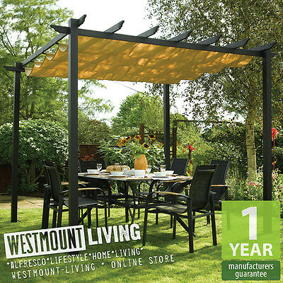 911 X FT 3 3m Aluminium Garden Pergola W Retractable Sun Canopy