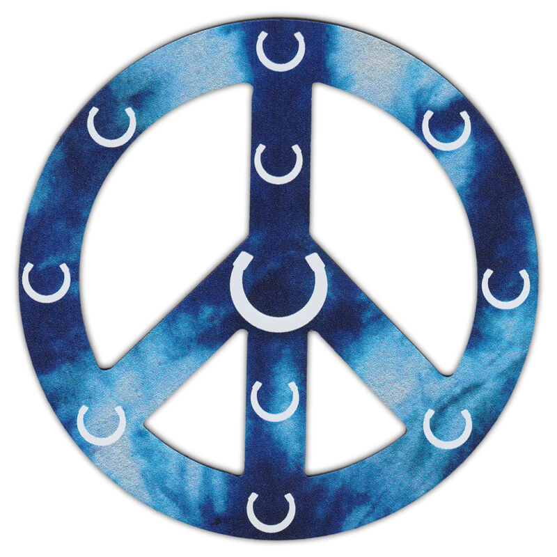 Peace Sign Shaped Magnets (See Through): Blue Design w/Horseshoes (Horses)