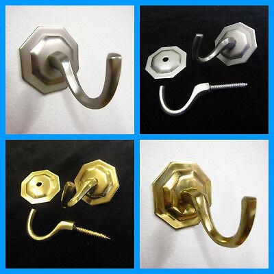 (2 octagonal wall curtain tassel hooks Wall diy hooks Brass silver)