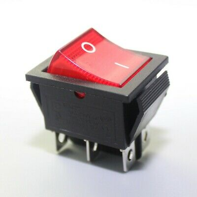 Ac 20a125v 22a250v Dpdt 6pin 2 Position Illuminated Red Neon Rocker Switch