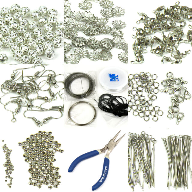 Findings Set Large Jewellery Making Kit Pliers Silver Beads Wire Starter Tool