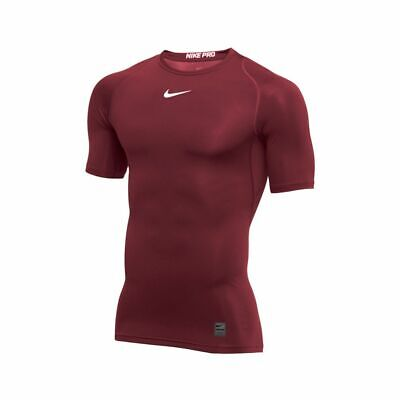 Nike Pro Fitted Top Short Sleeve Maroon Shirt Training Men's Large 908083 Maroon