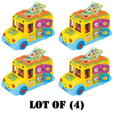 Lot of (4) Dimple DC5008 Fun Learning Activity School Bus w/ Lights & Sounds