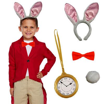 CHILDRENS KIDS WHITE RABBIT FANCY DRESS COSTUME WORLD - White Rabbit Outfit