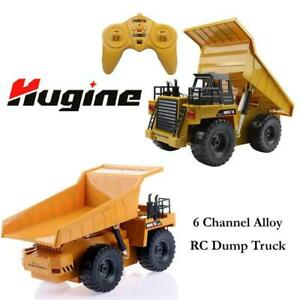 NEW Hugine 6 Channel Alloy RC Dump Truck 2.4Ghz Full Function Remote Control Construction Vehicle Dump Truck with LED...